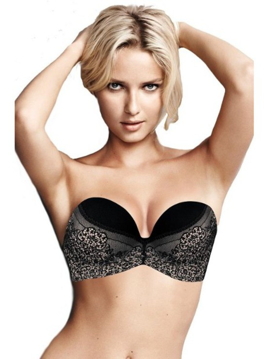 Wonderbra Ultimate Strapless Black Lace podprsenka